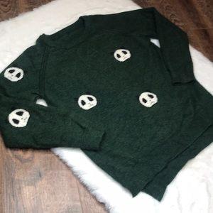 Wild fox panda head green super soft sweater